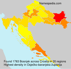 Surname Bosnjak in Croatia