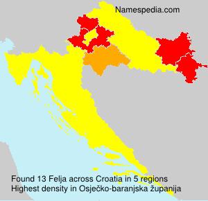 Familiennamen Felja - Croatia
