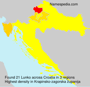 Surname Lunko in Croatia