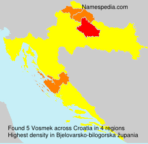 Surname Vosmek in Croatia