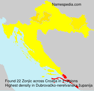 Surname Zonjic in Croatia