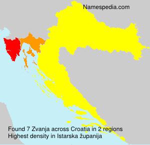 Surname Zvanja in Croatia