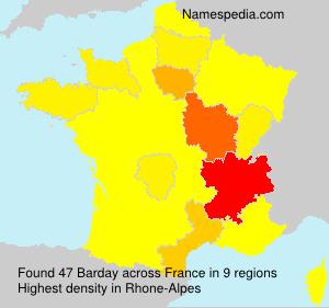 Surname Barday in France