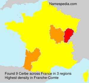 Surname Cerbe in France