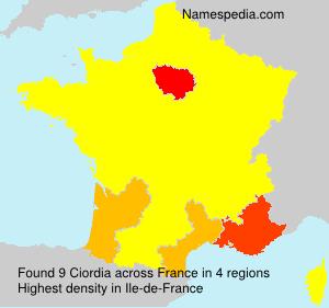 Surname Ciordia in France