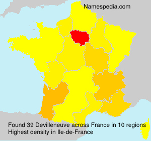 Surname Devilleneuve in France