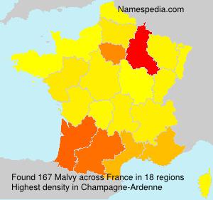 Surname Malvy in France