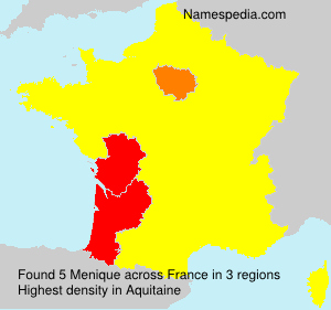 Surname Menique in France