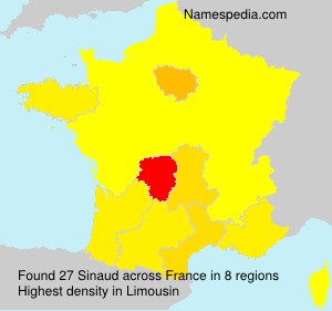 Surname Sinaud in France