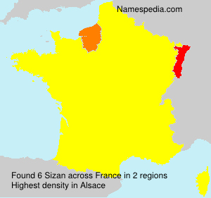 Surname Sizan in France