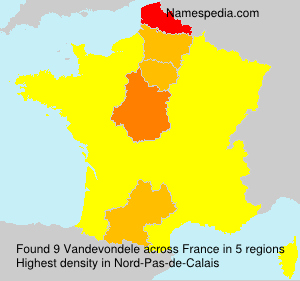 Surname Vandevondele in France