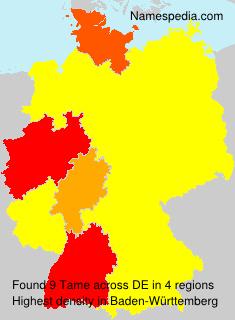 Surname Tame in Germany