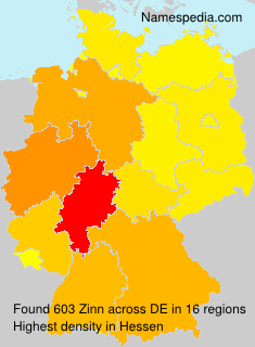 Surname Zinn in Germany