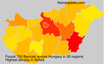 Surname Bencsik in Hungary