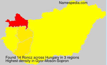 Surname Roncz in Hungary