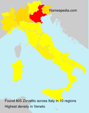 Surname Zorzetto in Italy