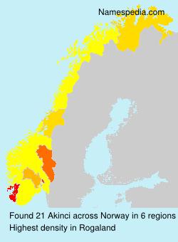 Familiennamen Akinci - Norway