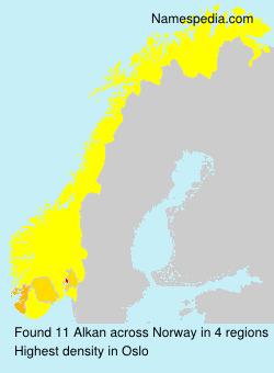 Familiennamen Alkan - Norway