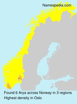 Surname Arya in Norway