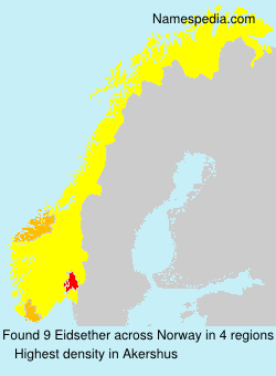 Surname Eidsether in Norway