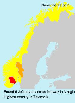 Familiennamen Jefimovas - Norway