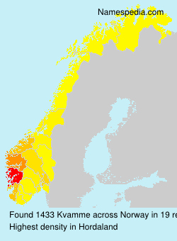 Surname Kvamme in Norway
