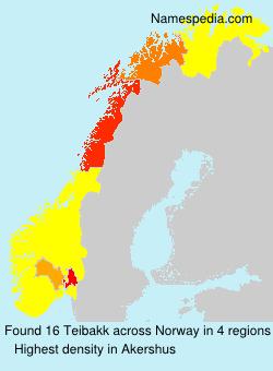 Surname Teibakk in Norway