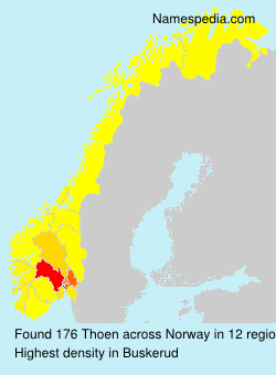 Surname Thoen in Norway