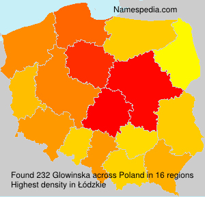 Surname Glowinska in Poland