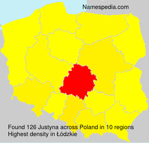 Surname Justyna in Poland