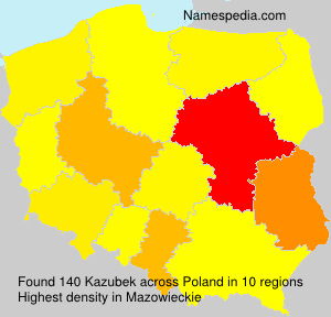 Surname Kazubek in Poland