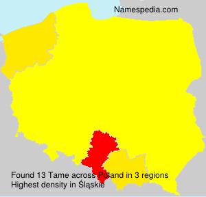 Surname Tame in Poland
