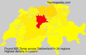 Surname Zemp in Switzerland