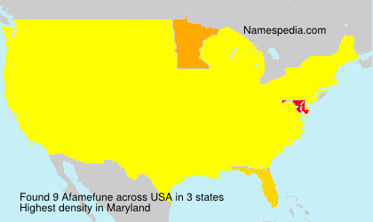 Surname Afamefune in USA