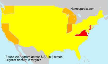 Familiennamen Agaram - USA