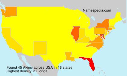Familiennamen Akinci - USA
