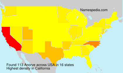 Surname Anorve in USA