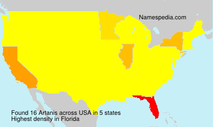 Familiennamen Artanis - USA