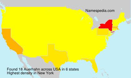 Familiennamen Auerhahn - USA