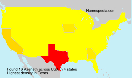 Surname Azeneth in USA