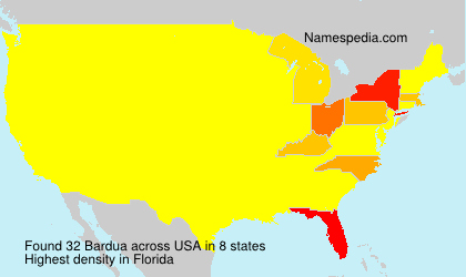 Surname Bardua in USA
