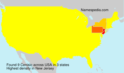 Surname Cenisio in USA
