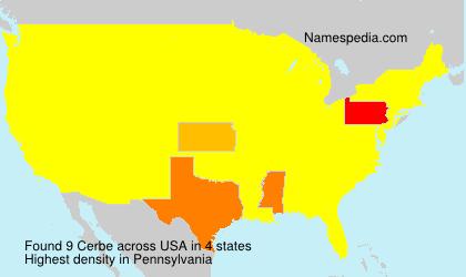 Surname Cerbe in USA