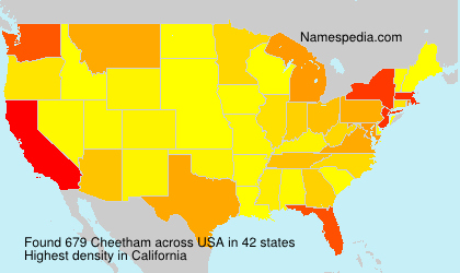 Surname Cheetham in USA