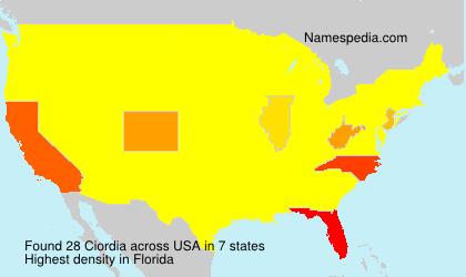 Surname Ciordia in USA