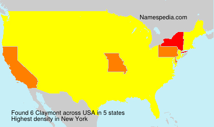 Surname Claymont in USA