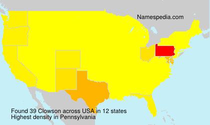 Familiennamen Clowson - USA