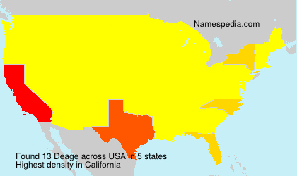 Surname Deage in USA
