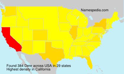 Familiennamen Dere - USA