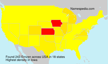 Surname Ernzen in USA